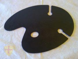 Pizarra bandeja paleta de pintor con 2 soportes para copas.