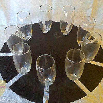 Bandeja porta copas decorativo para bares. Bandejas de pizarra para Horeca. Platos y bandejas de pizarra natural.