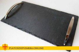 Bandeja rectangular de pizarra natural para decoración de su mesa. Bandeja pizarra rectangular asas.