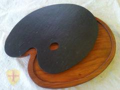 Doble bandeja de pintor con bajoplato de madera.