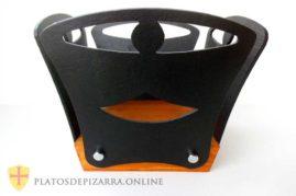 Frutero de pizarra y madera de decoración. Fabricado por artesano de la pizarra a partir de diseño personalizado. Platos pizarra Madrid.