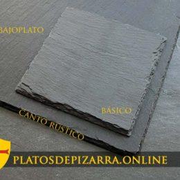 Plato de pizarra cuadrado y bajoplato de pizarra para decoración hogar.