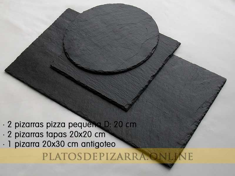 Set2 pizarras redondas, cuadradas y rectangulares para decoración. Pizarras tapas restaurante.