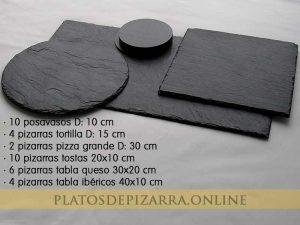 Set3 pizarras redondas, cuadradas, rectangulares y posavasos. Platos de pizarras para restaurante.
