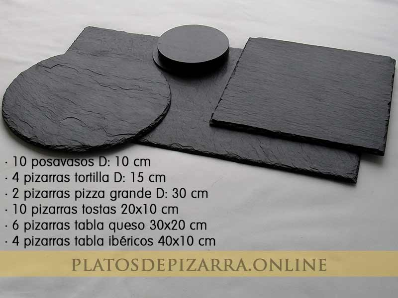 Set3 pizarras redondas, cuadradas, rectangulares y posavasos decorativas. Platos de pizarras para restaurante.